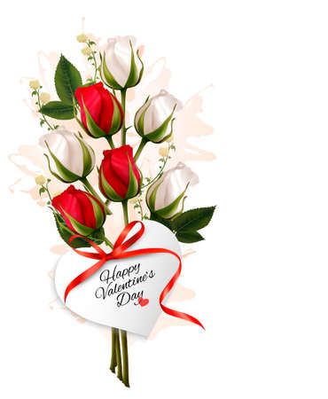 bunch of hearts: Bouquet of red and white roses. Valentines background.