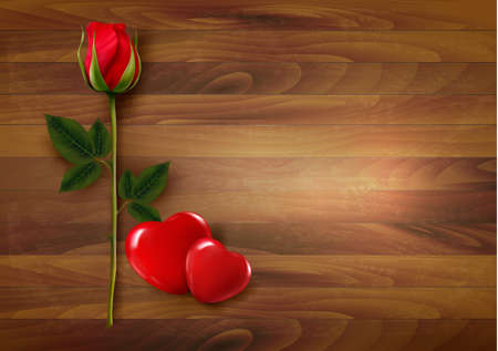 roses and hearts: Happy Valentines Day background. Roses with two hearts. Vector.