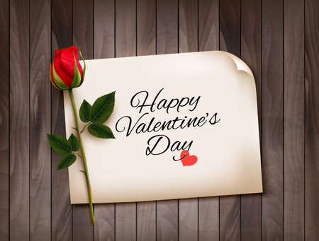 Happy Valentine's Day background with a note on a wooden wall and a red rose. Vector.