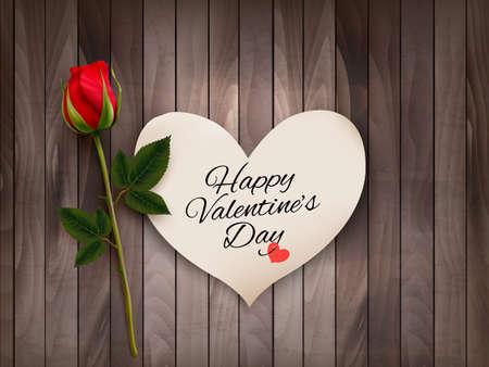 Fondo del día de San Valentín con una nota sobre una pared de madera y una rosa roja. Vector.