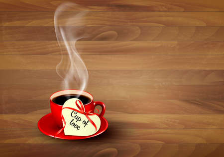 warm drink: Red cup of coffee with a heart shaped valentine note on wooden background. Vector.