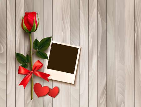 Valentinstag Hintergrund mit Foto, Herzen und einer Rose. Vektor. Standard-Bild - 52440191