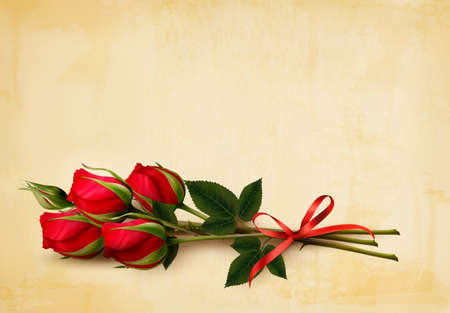 red rose: Happy Valentines Day background. Single red roses on an old paper background. Vector.