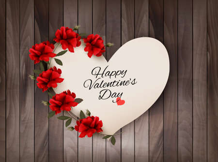 dozen: Happy Valentines Day background Retro greeting card with red roses. Vector illustration.