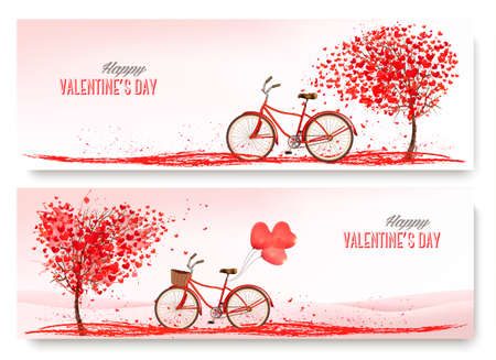 Valentines Day banners with a heart shaped tree and a bicycle. Vector.