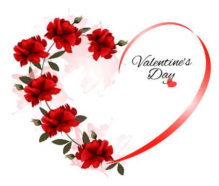 Fondo del día de San Valentín con un ramo de rosas rojas. Vector.