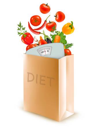 comida rica: bolsa de papel de la dieta con una escala y verduras. El concepto de dieta, Vector.