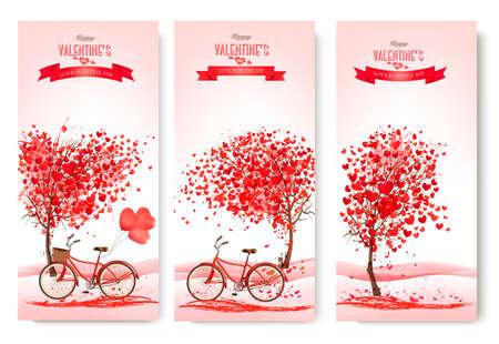 Tre striscioni San Valentino con alberi rosa e biciclette. Vettore.