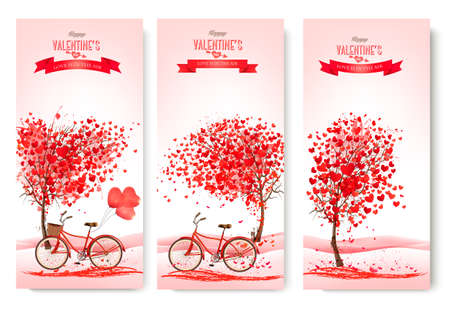 japanese garden: Three valentines day banners with pink trees and bikes. Vector.