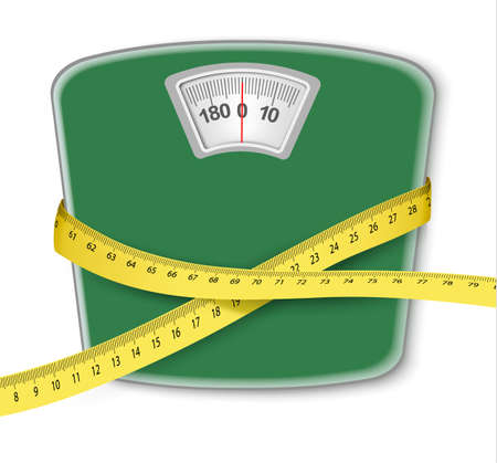 weight control: Weight scale with a measuring tape. Concept of diet. Vector.