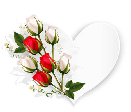 tarjeta de vacaciones hermosa con las rosas rojas y blancas. Vector.