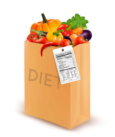 woman eating: Diet paper bag with vegetables and a nutritional label. Concept of diet. Vector. Illustration