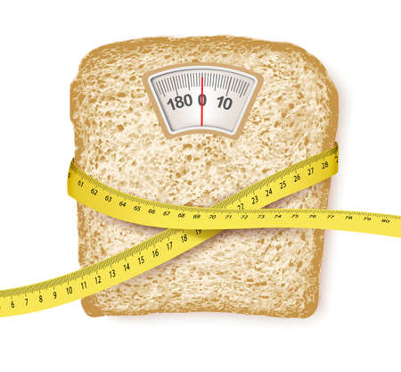 overeating: Weighing scales in form of a bread slice and measuring tape. Diet concept Illustration