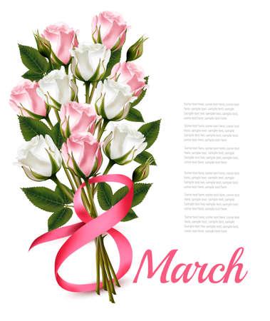 8 marzo illustrazione vintage. Rose bianche e rosa bouquet. Vettoriali