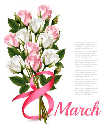 8 march: 8th March vintage illustration. White and pink roses bouquet. Illustration