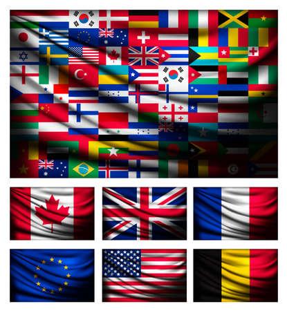 banderas del mundo: Gran bandera hecha de banderas del mundo.