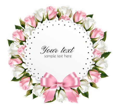 Hermosa corona, hecha de flores de color rosa y blanco con un lazo rosa.