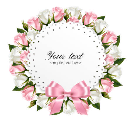 green card: Beautiful wreath, made out of pink and white flowers with a pink bow.