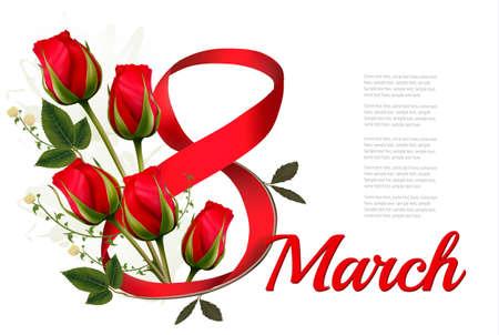 8 Mars illustration avec des roses rouges. Journée internationale des femmes.