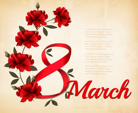 young womens: 8th March illustration with red roses. International Womens Day.