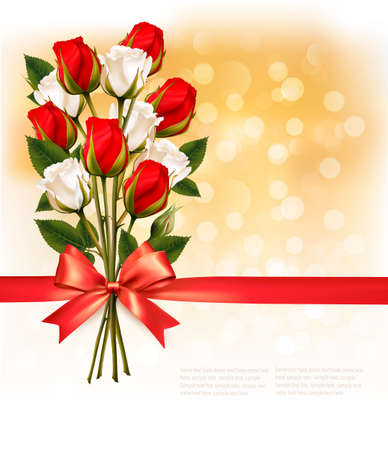 red rose bokeh: Bouquet of red and white roses with a red ribbon on gold booker background. Vector.