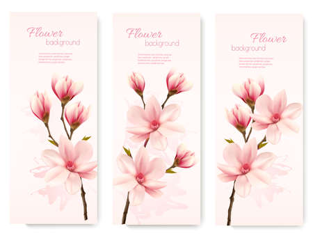 close: Banners with beautiful cherry blossom flowers. Vector. Illustration