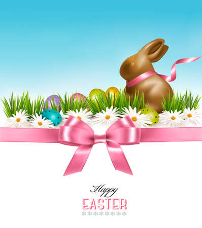 april beautiful: Happy Easter background. Colorful Easter eggs and chocolate bunny. Vector