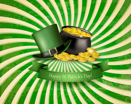patric: Saint Patricks Day background with a green hat and gold coins in a cauldron. Vector illustration.