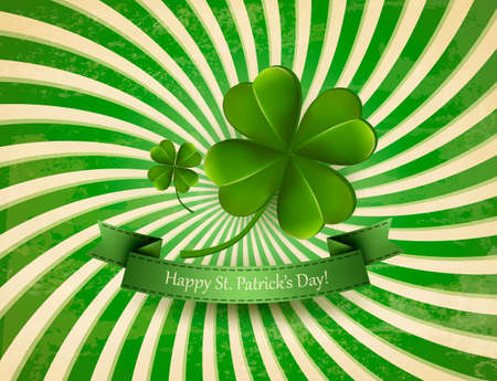 st: Happy St. Patricks Day background with a clover. Vector. Illustration