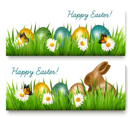 Two Happy Easter banners with Easter eggs and green grass Vector.