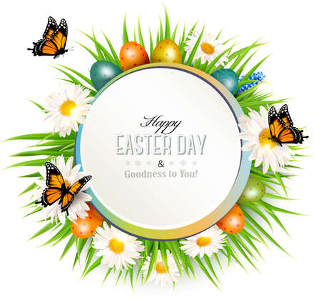 modern design: Happy Easter background with grass, butterflies and easter eggs.