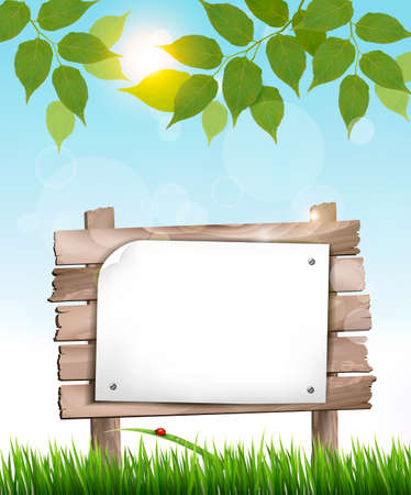agriculture: Natural background with leaves and a wooden sign. Illustration