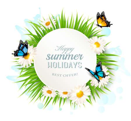 vacances d'été heureux avec de l'herbe et les papillons.