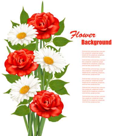 Blumen-Hintergrund mit weißen Gänseblümchen und rote Rosen. Illustration