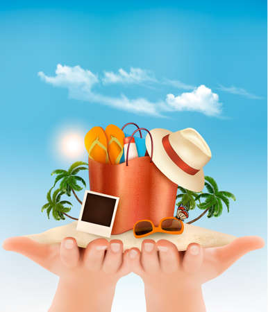 Vacation concept. Beach with a palm tree, a photograph and a beach bag in hands. 일러스트