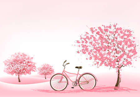 Spring background with a blossoming tree and a bike.