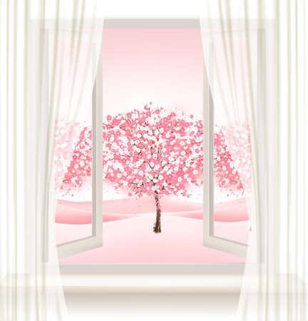 vue arborescente rose fleur de cerisier d'une fenêtre. Vecteurs