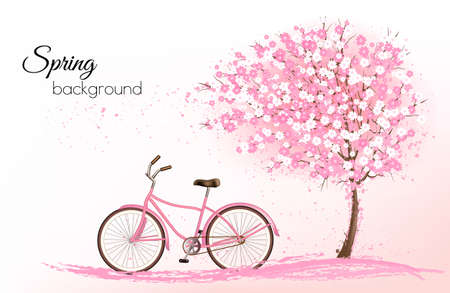 blossoming: Spring background with a blossoming tree and a bike.