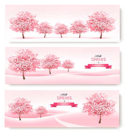 fleur cerisier: Trois bannières de printemps avec des arbres de fleurs de cerisier roses.