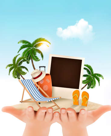 palm tree: Summer vacation background. Hands holding up holiday items.
