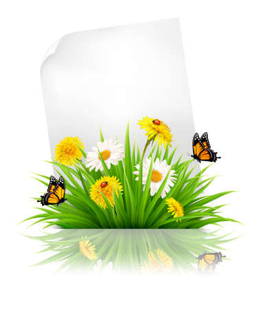 easter background: Sheet of paper with grass and spring flowers. Illustration
