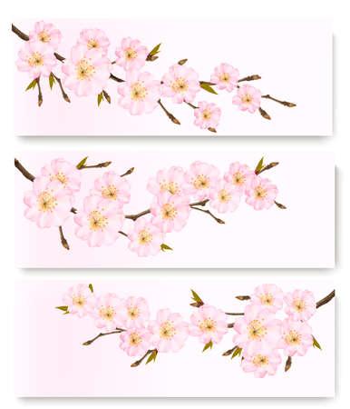 pink skies: Three flower banners.