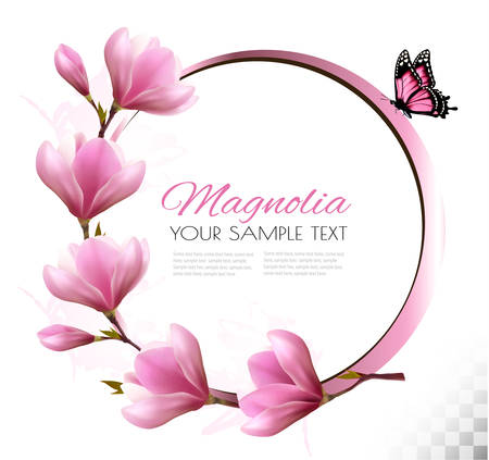 Nature background with blossom branch of pink flowers and butterfly 일러스트
