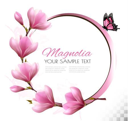 Nature de fond avec la fleur branche de fleurs roses et papillon Banque d'images - 55449149