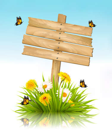 Summer nature background with grass, flowers and wooden sign. Imagens - 55449153