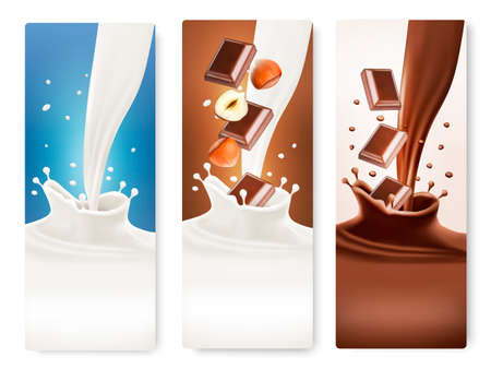 Set of banners with chocolate and milk splashes. 矢量图像
