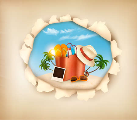 valigia: Isola tropicale con palme, una sedia a sdraio e una valigia.