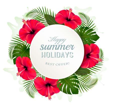 foglie tropicali e fiori con un vacanze estive Vettoriali