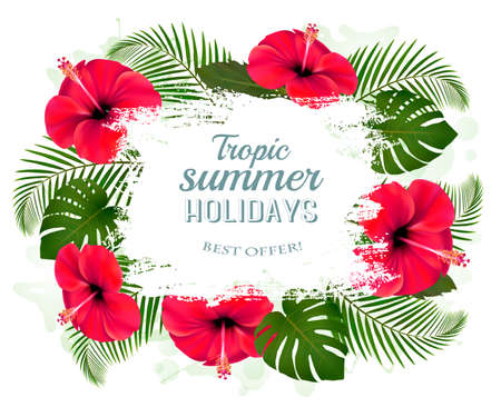 tropical flowers: Happy summer holidays frame with red flowers and tropical leaves.