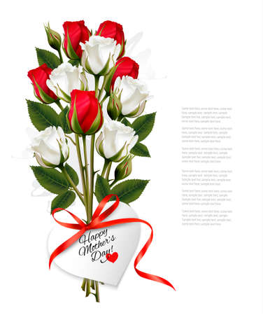 Bouquet of roses with a heart-shaped Happy Mothers Day note and red ribbon. Illustration